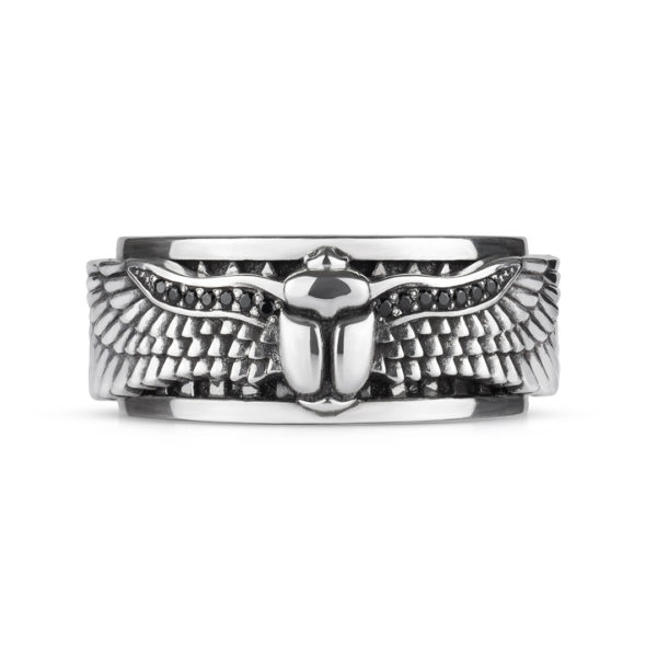 ring scarab egypt silver black stones big