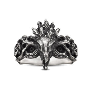 Horror tribal skull roots ring