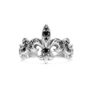 Fleur de lis ring heraldic silver black circonia