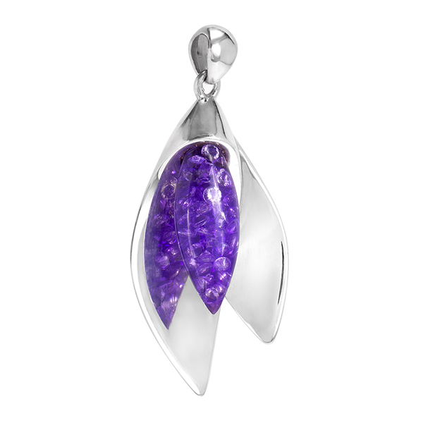 Petal flower branded material insert pendant