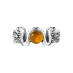 Egypt sun amber siver ring cobra snake wings