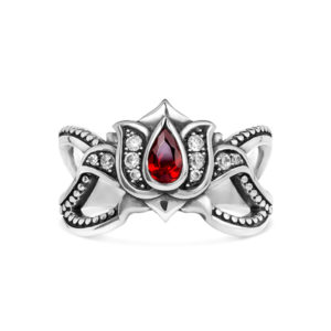 Lotus silver ring india flower red white