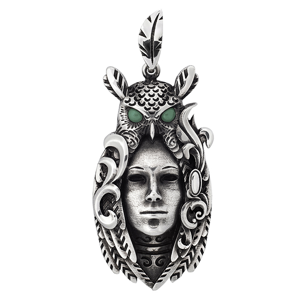 Owl Spirit silver pendant womans face glowing eyes