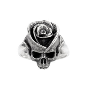 Rose Skull silver ring flower