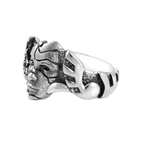 Shattered Mask silver ring cracks face