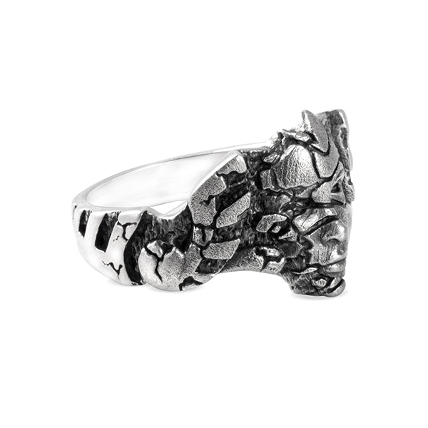 Shattered Mask silver ring cracks face