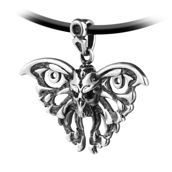 Butterfly skull silver pendant