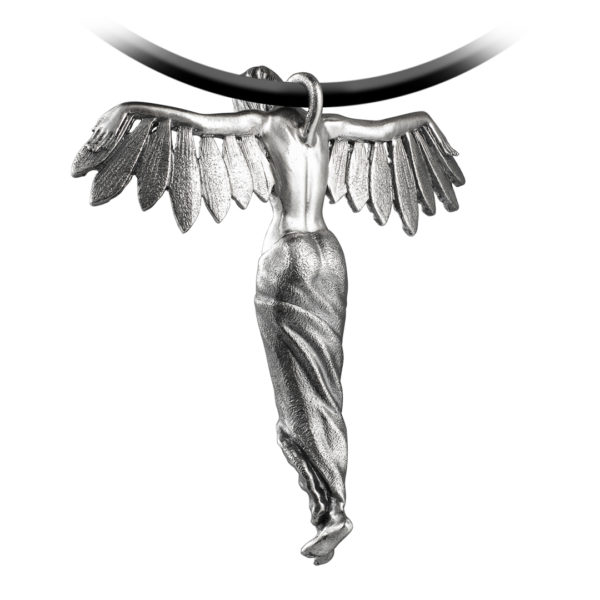 Captured angel woman feathers wings silver pendant
