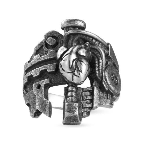 Cyberheart heart cyberpunk biker silver ring