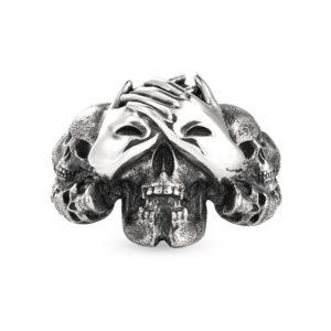 blind terror skull hands eyes silver ring