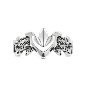 forest mark leaf feathers ring silver