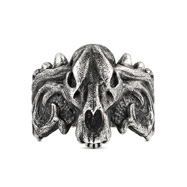 scourge skull thorns silver ring